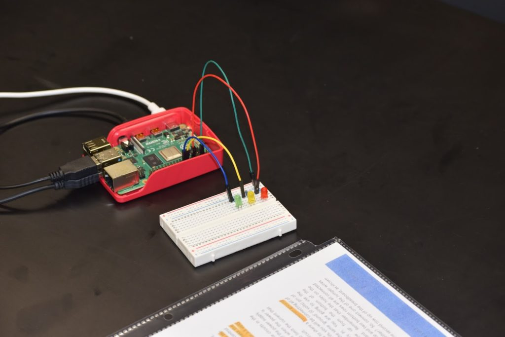Raspberry Pi connected to breadboard